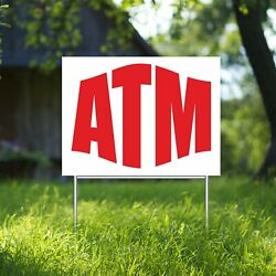 Atm Yard Sign Corrugate Plastic With H-stakes Cash Machine Money Cards Finance