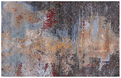 5and039 11 X 9and039 2 Abstract Wool And Silk Handmade Rug - Q8888