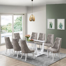 Kings Brand - Elmer 9 Piece Glass Top Dining Set Table And 8 Chairs White/gray