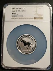 2002 Australia Silver Lunar Year Of The Horse 2 Oz 999 Ngc Ms 69