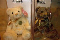 Ty Charles And Henry Beanie Baby Bears Harrods Uk Exclusive W/ Certificates Mwmt
