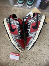 Size 9 - Nike Sb Dunk Low Premium X Supreme Red Cement 2012