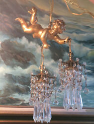 Vintage Chandelier French Italy Lamp Flying Cherub Tole Brass Crystal 2lite Swag