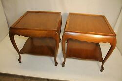 Beautiful Pair Of French Provincial Walnut Signed Sofa Side End Tables