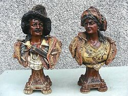 Antique Pottery Bust Blackamoor Gypsy Busts Pair