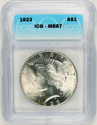 1923 Peace Liberty Head Silver Dollar - Ultra High Grade Of Ms-67 High Quality