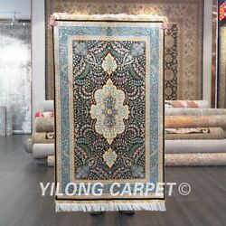 Yilong 3'x5' Classic Handknotted Silk Carpet Indoor Handcraft Area Rug Z540a