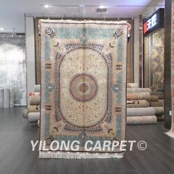 Yilong 4and039x6and039 Blue Silk Area Rugs Handmade Antique Carpet Home Hand-knotted 550a