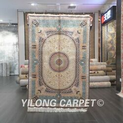 Yilong 4'x6' Blue Silk Area Rugs Handmade Antique Carpet Home Hand-knotted 550a