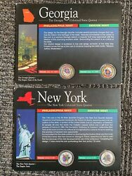 Colorized New York And Georgia P And D State Quarters - Statehood Painted Set