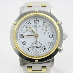 Hermes Clipper Cl1.320 Used Watch Chronograph Qz Ldy Combination White Dial Ec