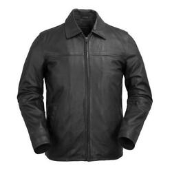 Men Indiana Sleek Cowhide Leather Center Zip And Fold Collar Black Jacket Small