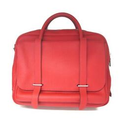 Hermes Steve Meeting 35 Hand Bag Clemence Leather Rouge Casaque Shw Used