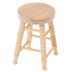 1/12 Dollhouse Miniature Wooden Stool Simulation Chair Furniture Toy Decoray_dr