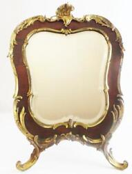 Antique French Bronze Tortoise Table Top Easel Vanity Mirror.