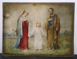 19th C Religious Lithograph On Tin And039the Holy Familyand039 Adolescent Jesus Sd F.f.g.