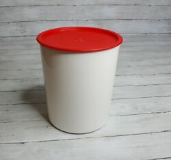 Tupperware Huge One Touch Canister White Red Lid Size E 5.5 L