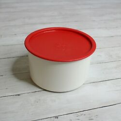 Tupperware Large One Touch Canister White Red Lid Size D