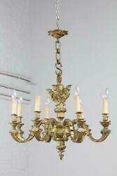 Nice Bronze French Antique 8 Arm Figurative Chandelier - Bae8