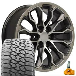 17 Gunmetal 5891 Wheels And Falken Wildpeak At Tire Set Fit Canyon And Colorado Zr2