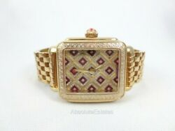 Michele Deco Chateau Red And Gold Diamond Watch Mww06t000200 Refurbished + Box