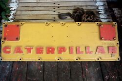 Rare Vintage Metal Caterpillar Panel Sign Gas Oil Heavy Equipment Red And Yellow