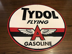 Tydol Flying A Gasoline 24 Tin Collectible Automotive Advertising Metal Sign