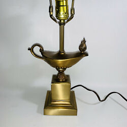Vintage Genie Bottle Aladdin Brass Table Electric Lamp 20 Tall