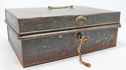 Antique Iron Shopkeeper's Cash Chest Money Box Original Old Hand Crafted