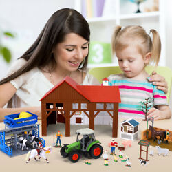 Wild Animal Figure Farm Playset Toy Livestock Barn Cow Shed Horse Stable Tractor