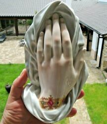 19th.porcelain Royal Vienna Figure Virgin Mary Covered Her Face With Her Hand.