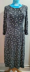 Boden Grey Jersey Day Dress With Black White Flowers Floral Print 10l Uk Tall