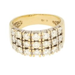9carat Yellow Gold 1.75ct Diamond Cluster Ring Size P 9mm Wide