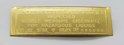 Underwriter's Laboratory Brass Embossed Tag For Visible Gas Pumps Id164
