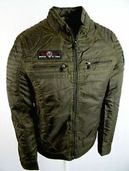 120 Gold Mens Motorcycle Moto Bomber Jacket Embroidered Patches Zip Pockets