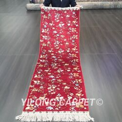 Yilong 2and039x6and039 Hand Knotted Silk Lobby Carpet Strip Red Flowers Rug Runner 044b