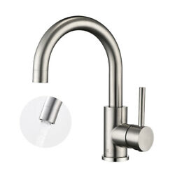 Bathroom Sink Faucet Swivel Single Hole Mixer Tap Brushed Nickel Deck Mounted Us