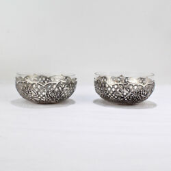 Pair Of Antique Chinese Export Silver Finger Or Fruit Bowls By Hung Chong - Sl
