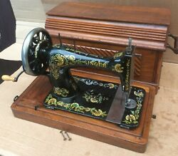 Antique Singer 28k Sewing Machine With Case And Ottoman Carnation Decals