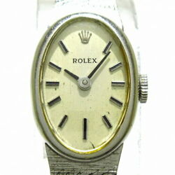 Rolex Used Watch Solid Gold K14wg/14k Hand-wound Oval Antique Silver