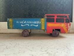 Old Vintage Big Size Wooden Free Wheel Truck Toy From India 1960 .