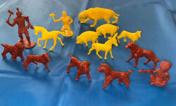 Vintage Plastic Toys Marx Smilodon Tiger And Mpc Farm Animals Dog Breeds And Indians