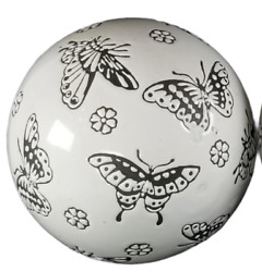 Ceramic Butterfly Orb Ball 4 Set Of 2 White Gray Farmhouse Home Decor Pottery