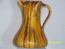 Myott And Son And Co., Hand Painted Art Deco Drip Glaze Pitcher W/handle