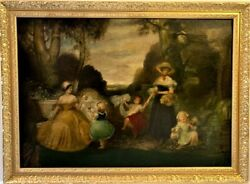 Large Antique 18-19 Centuries Oil Painting On Canvas Women And Children Playing