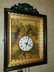 Black Forest Cuckoo Clock With Picture Zinc Panel . Wooden Plates Movement