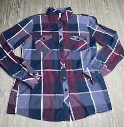 Rvca Mens Blue And Purple Plaid Flannel Long Sleeve Button Down Shirt Size M
