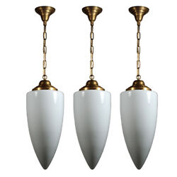 Unusual Matching Antique Pendant Lights With Bullet Shades, 5 Available, Nc3987