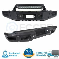 Textured Front + Rear Bumper Protector W/ Led Work Lights For 09-14 Ford F150