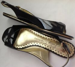 7.5m Juicy Couture Patent Leather Flats Thongs Adjustable Strap Shoes Sandals